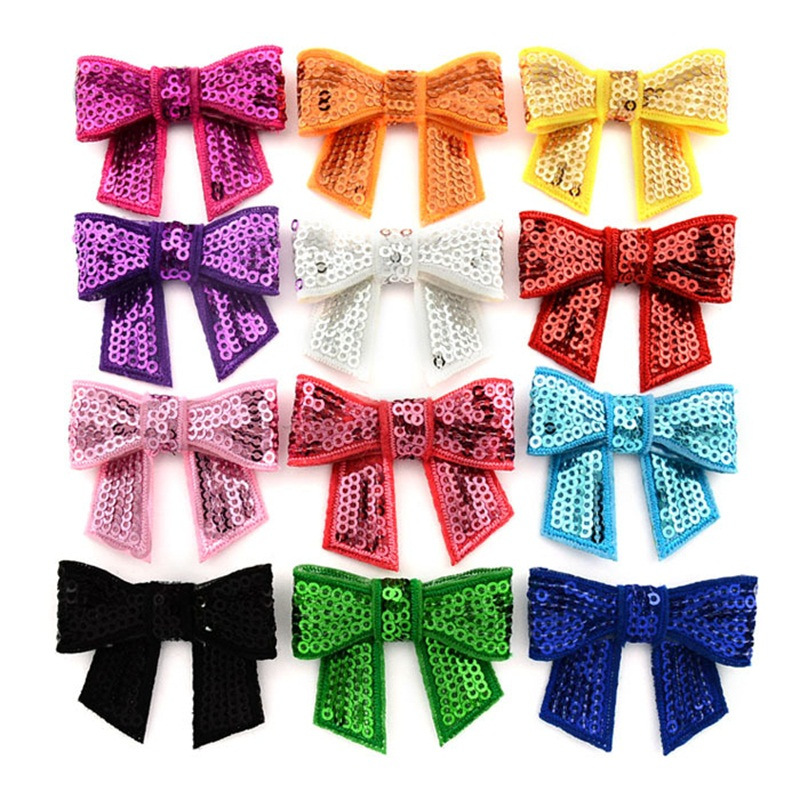 1PCS Embroideried Sequin Bows WITHOUT CLIP Girl Hair Accessory Bowknot applique Bow For DIY Headband Semi-finished Products 2017 halloween party zombie skull skeleton hand bone claw hairpin punk hair clip for women girl hair accessories headwear 1 pcs