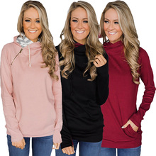 S-XL autumn winter zipper hooded tops blouse pure color casual leisure brand holiday
