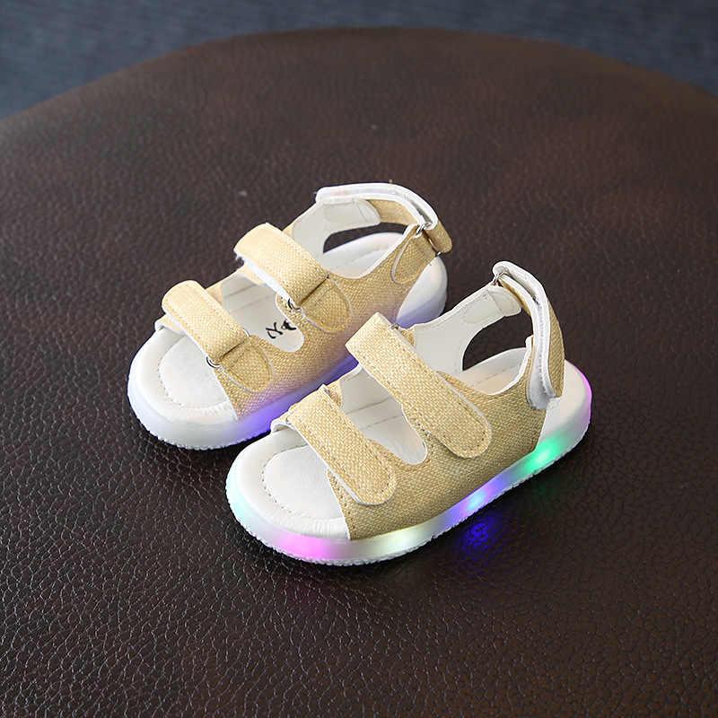 Zomer Kids Led Gloeiende Sandalen Jongens Meisjes Sport Toevallige Lichte Schoenen Kinderen Baby Platte Schoenen Kids Strand Leren Sandalen