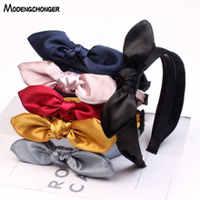 Girls Elastic Hair Bands Bow Hoop Fashion Pure Color Rabbit Ear Head Band Children Bezel Lovely Sweet Accessories