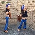 2017 весенние модели девушки детские мягкие старинные джинсовые клеш джинсы дети бесплатная доставка