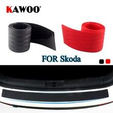KAWOO For Skoda Octavia Fabia Yeti Rapid Roomster Citigo Rubber Rear Guard Bumper Protect Trim Cover Sill Mat Pad Car Styling