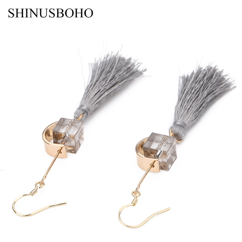SHINUSBOHO Bohemia Style Earrings Hanging Geometry Shape& Gray Long Tassel Fashion Woman Earrings 2018 Boho Jewelery Gifts