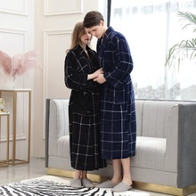 Plus Size Bathrobe Women Winter Thicken Warm Flannel Bath Robe Couples Plaid Fleece Sleepwear Long Gowns bata mujer hombre 3XL цена 2017
