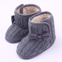 2017 Autumn Winter Baby Girls Snow Boots Knitted Baby Shoes Soft Sole Infant First Walkers Knit Cribe Shoes Kids Indoor Boot