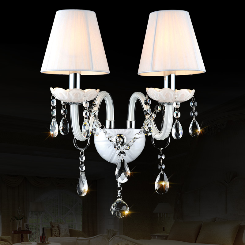 Wall Candle Lamps : K9 top white Crystal Wall Lamp Candle Led E14 Bulbs double head Led E14 Bulbs white 1/2/3 arms ...