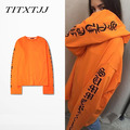 2016 summer kanye west letters OVERSIZE long section round neck cotton long sleeve T-shirt men and women INS