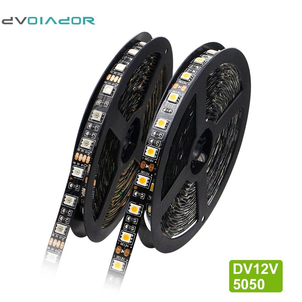 Dvolador 5 m/lote dc12v led strip rgb 5050 preto pcb flexível led luz à prova dwaterproof água ip65 300led ip20 iluminação de fundo decoração