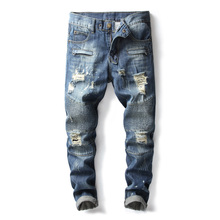 High Street Fashion Men Jeans Blue Color Destroyed Ripped Jeans Plus Size 28-42 Balplein Brand Jeans Men Motor Biker Jeans Homme