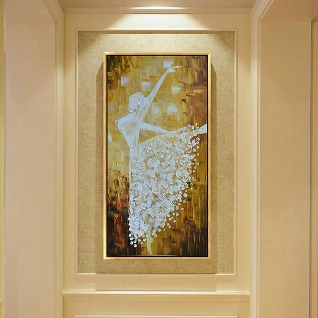 Nietypowy Okaz Ręcznie Malowane Baletnica Obraz Olejny 100% Ręcznie i Drukowane WV71