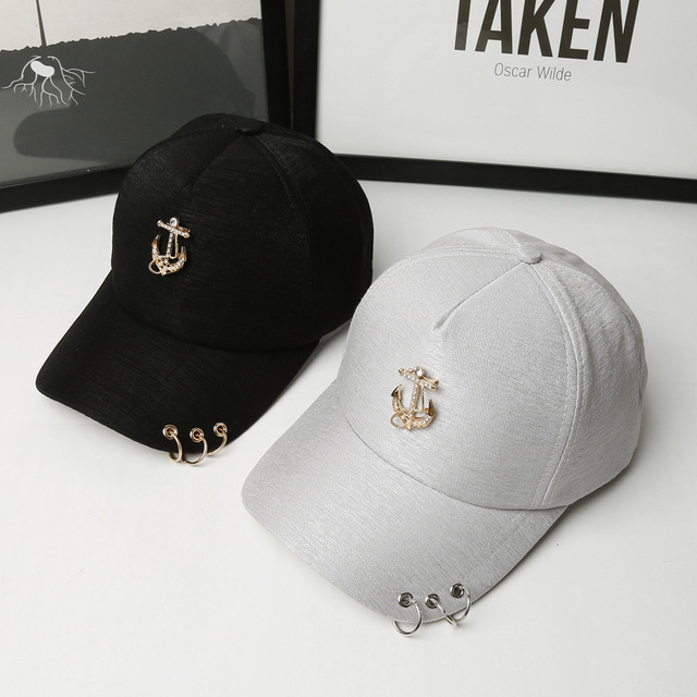 2ac229c9908 2017 High Quality Couple Pearl Diamond Baseball Cap Women Men Ring Snapback  Hat Casquette Summer Anchor