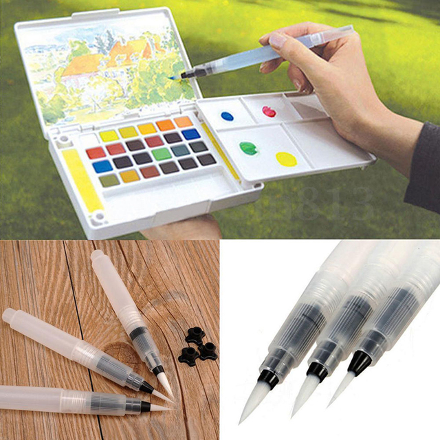 6Pcs/set Refillable Pilot Water Brush Ink Pen For Watercolour Painting Calligraphy