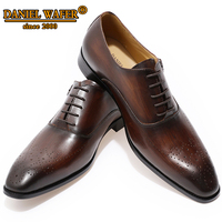 MEN GENUINE LEATHER OXFORD SHOES MEN BUCKLE STRAP OFFICE DRESS WEDDING SHOES BROWN BROGUE POINTED TOE OXFORD FORMAL SHOE SUMMER