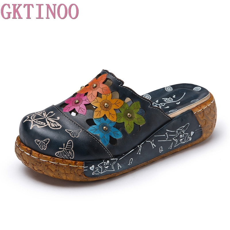 GKTINOO Genuine Leather Shoes Flower Slippers Handmade Slides Flip Flop On The Platform Clogs For Women