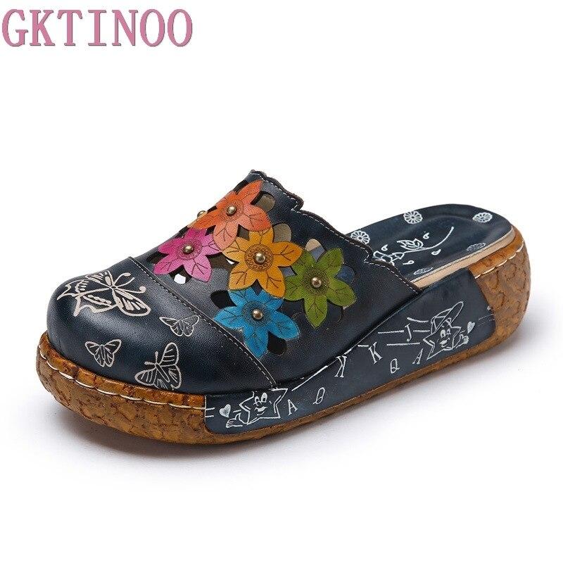 GKTINOO chaussures en cuir véritable pantoufles de fleurs faites à la main diapositives Flip Flop sur la plate-forme sabots pour femmes femme pantoufles grande taille