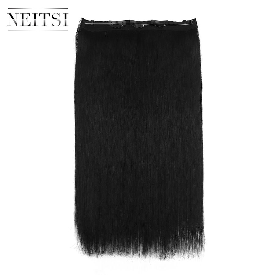 Neitsi Straight Clip In Hair 100% Remy Human Hair Easy Going Hidden Invisible Wire Flip In Hair Extensions 20