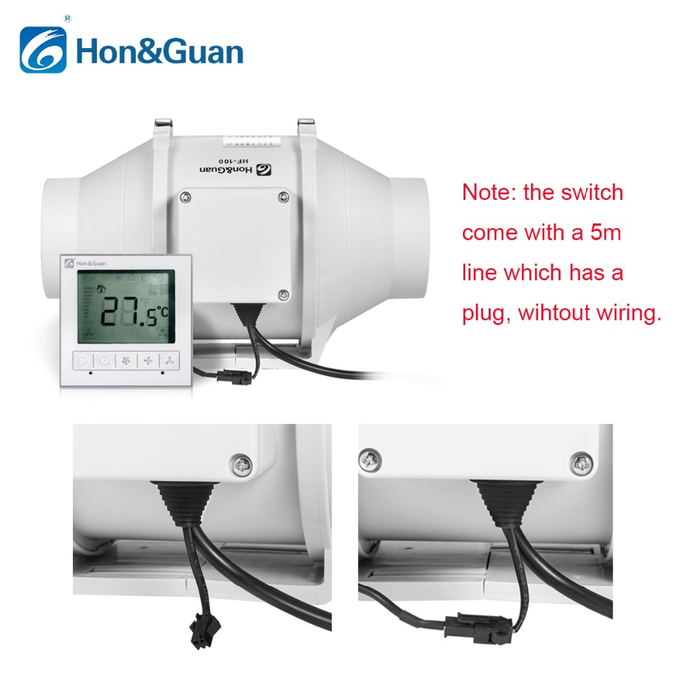 hight resolution of hon guan 5 inch hf 125pmzc timer extractor inline duct fan with smart switch 220 240v free shipping by dhl or ups in exhaust fans from home appliances on