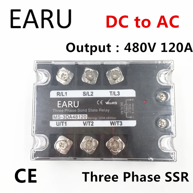 TSR-120DA SSR-120DA Three Phase Solid State Relay DC 5-32V Input Control AC 90~480V Output Load 120A 3 Phase SSR Power DA48120