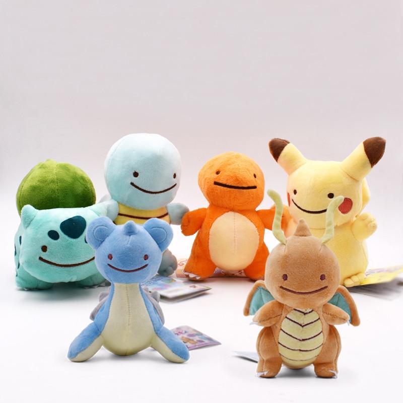 6Styles Hot Toys Peluche DITTO Lapras&Dragonite&Pikachu&Squirtle&Bulbasaur&Charmander 12-16CM Plush Doll