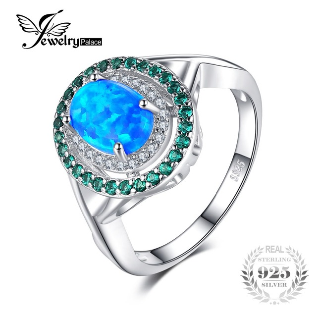 JewelryPalace Fashion 1.2ct Oval Created Opal Inlay Emerald Cocktail Ring Genuin
