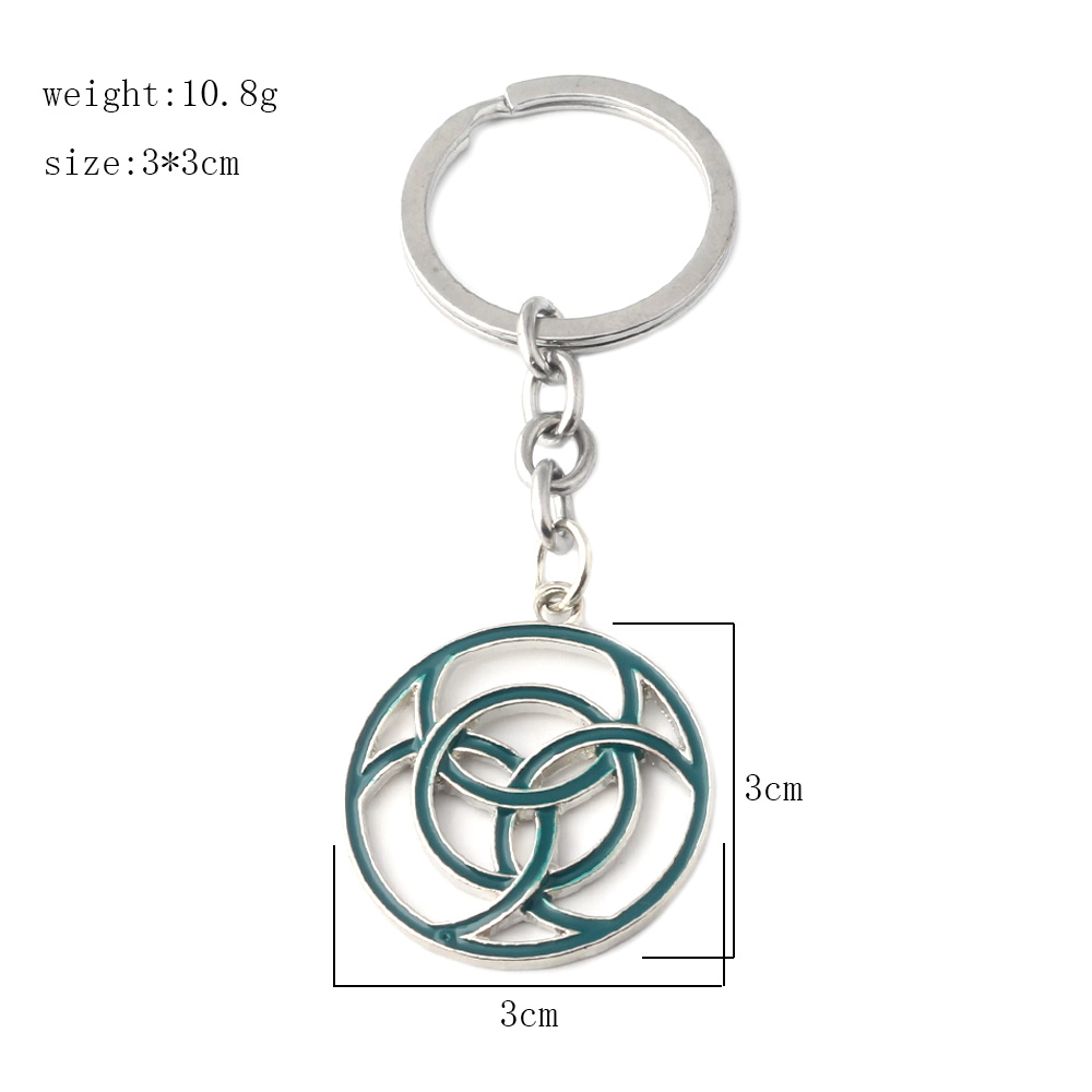 Game Horizon:Zero Dawn Keychains Green Round Four Rings Intersecting Geometry Keyring Chaveiro Women Men Jewelry