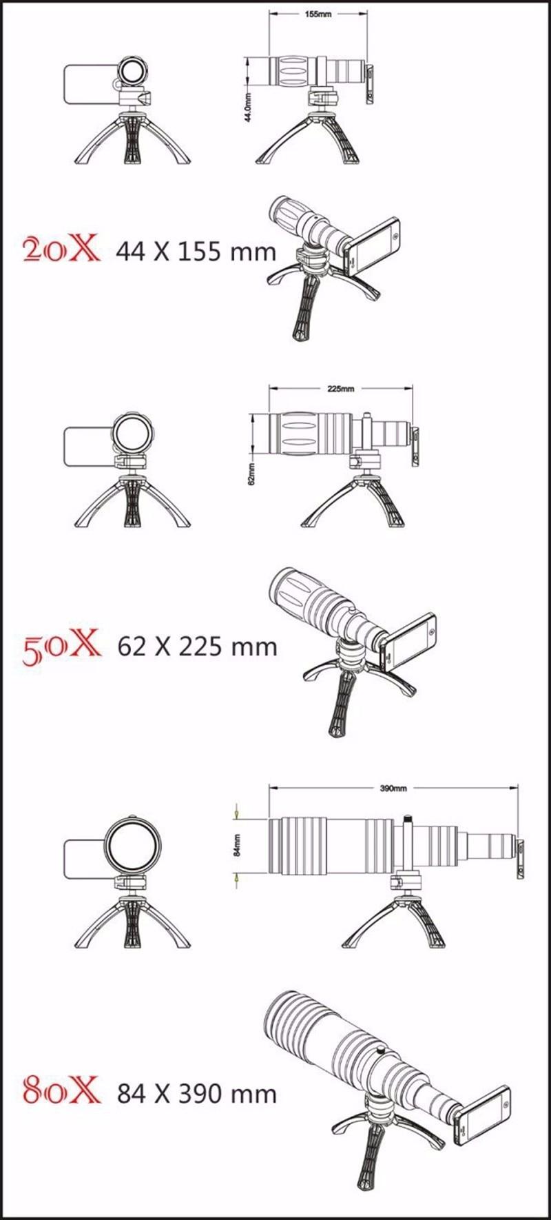 HD Universal 80X Telephoto Zoom Optical Len telescope Mobile Phone Camera kit with tripod Ikeacasa Free Shipping