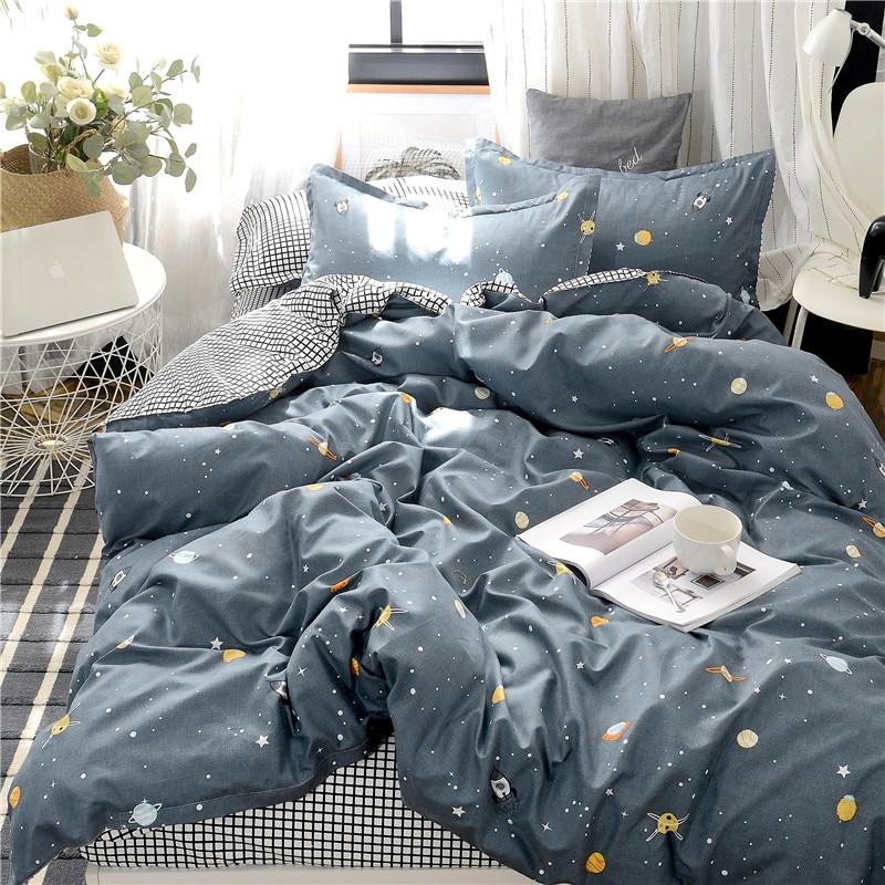 Planet Printing Bedding Set Skin friendly Pillowcase Flat Sheet Duvet Cover Set AB Side Kids Bedding 3/4pcs-in Bedding Sets from Home & Garden