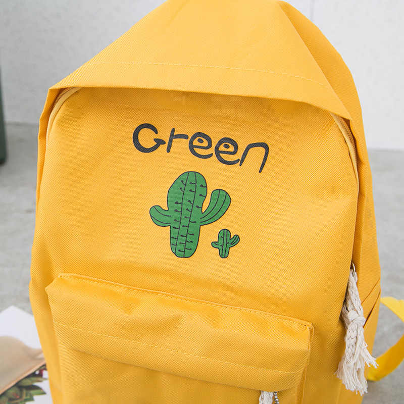 4pcs conjunto para meninas adolescentes do cacto impressão mochila escolar lona bolsa de ombro + mulheres mochila caso + lápis + bolsa de viagem mochila