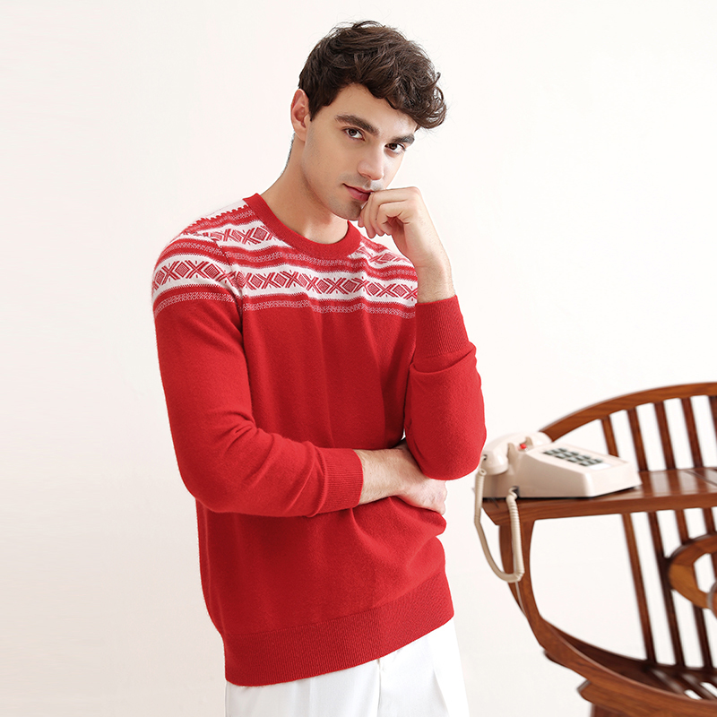 ZHILI 2018 New Autumn Winter O-Neck Christmas Red Cashmere Sweater