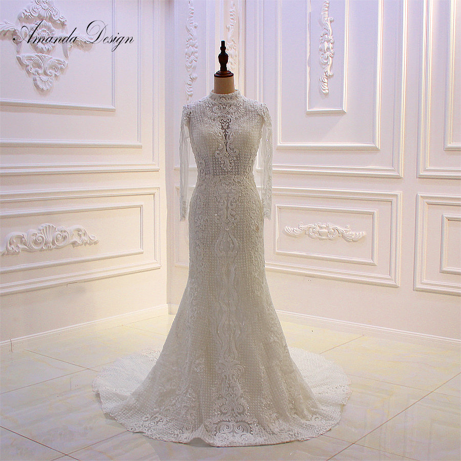 Amanda Design 2019 New Arrival High Neck Long Sleeve Lace Beading Mermaid Wedding Dress