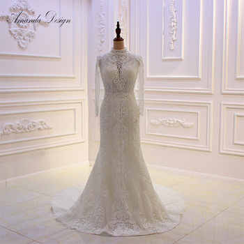 Amanda Design 2019 New Arrival High Neck Long Sleeve Lace Beading Mermaid Wedding Dress - SALE ITEM Weddings & Events