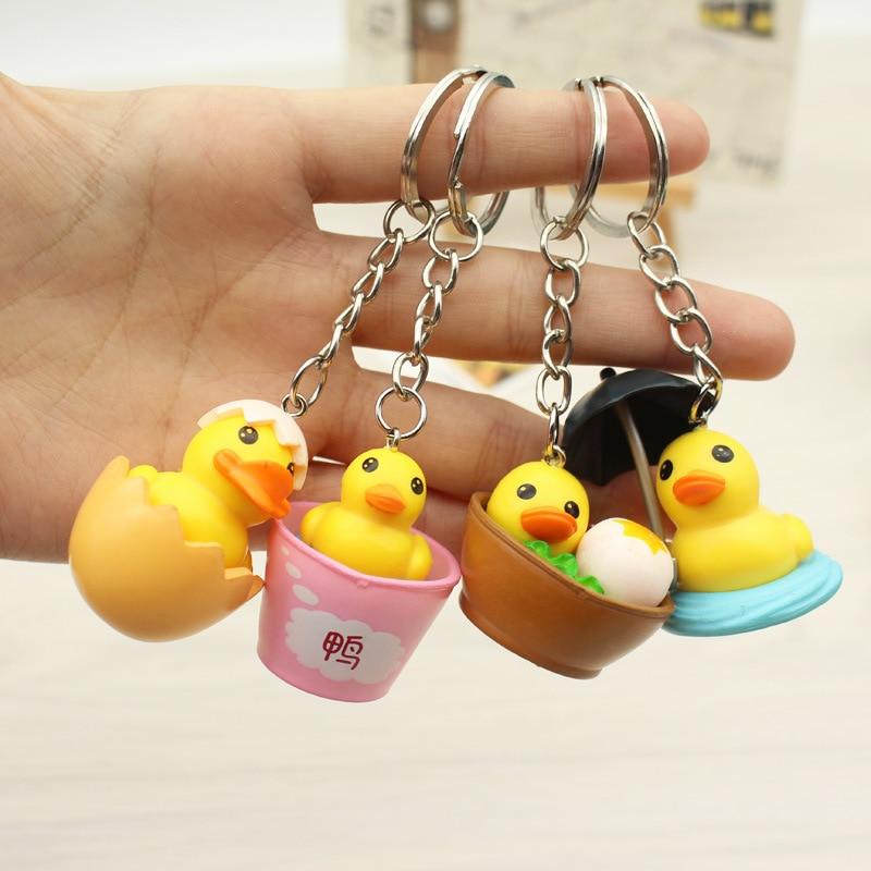 Fashion New Cute Cartoon Duck Keychain 3D Animal Toy Pendant Charms Novelty Key Chain Ring Girl Christmas Birthday Creative Gift
