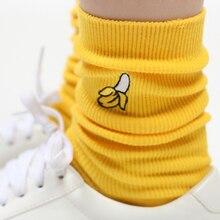 1 пара, милые хлопковые женские носки с фруктовым принтом, Meias, длинные разноцветные забавные носки с вышивкой в стиле ретро, Длинные Носки с рисунком, женские носки Kawaii