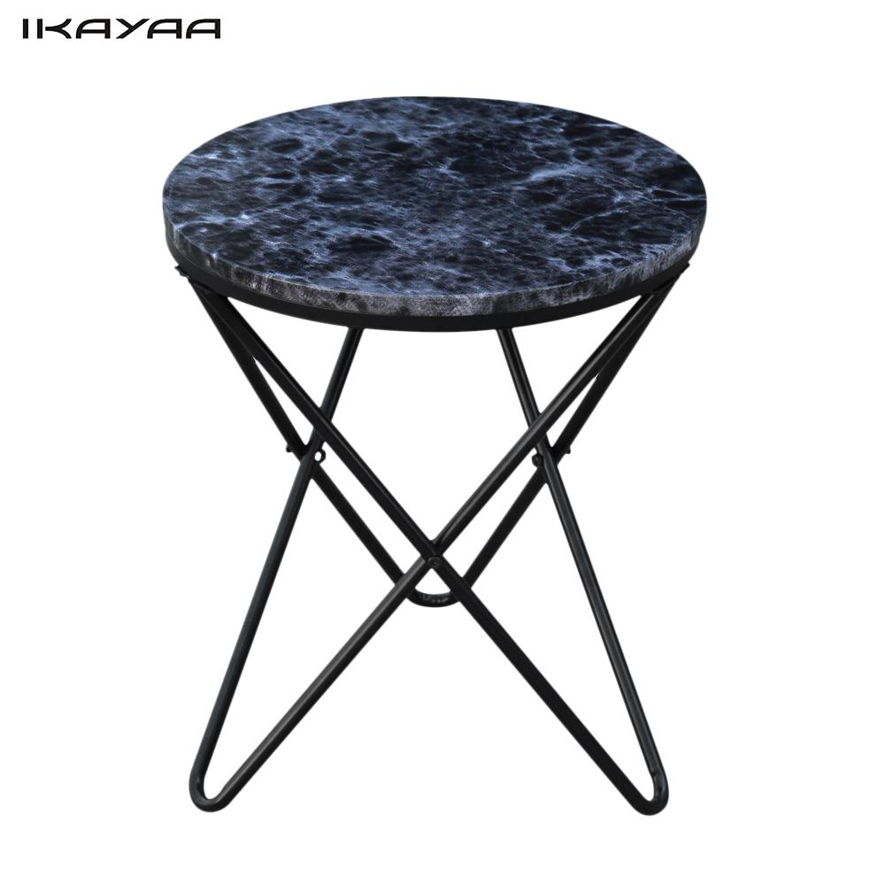 Ikayaa Modern Round End Living Room Table Metal Sofa Couch Coffee Marble Like Top Accent Table