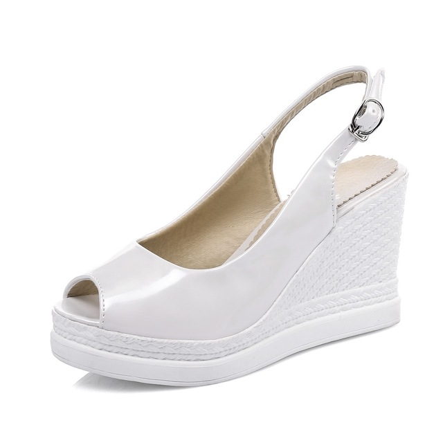 e6668fc119f1 Rivet Wedges Sandals 2 Colors Platform Slides Shoes Woman Casual Buckle  Strap High Heels Sandals Women