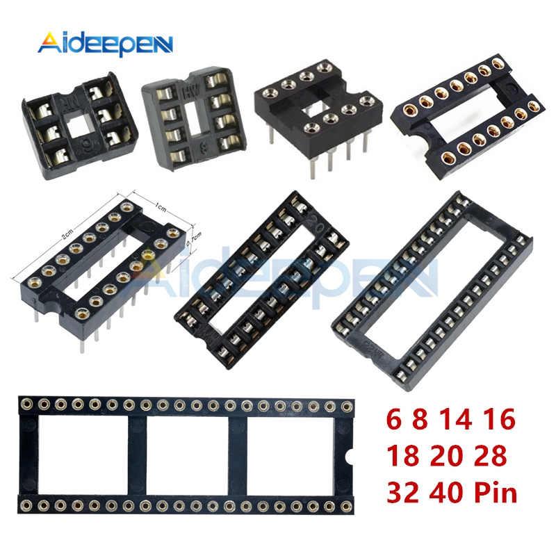 10 Pcs IC ซ็อกเก็ต 6 8 14 16 18 20 28 32 40 ซ็อกเก็ตขา DIP6 DIP8 DIP14 DIP16 DIP18 DIP20 DIP28 DIP32 DIP40 Solder Socket