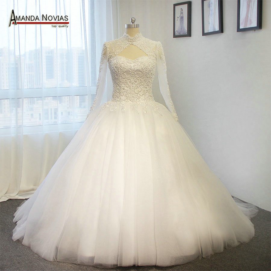 Real Retro Weddings: Vintage Lace Full Pearls Wedding Dress With Long Sleeves