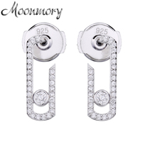 Moonnory Real 925 Sterling Silver Pure Love Pearl Vintage Earrings Crystal Zircon Stone Can Not Moved