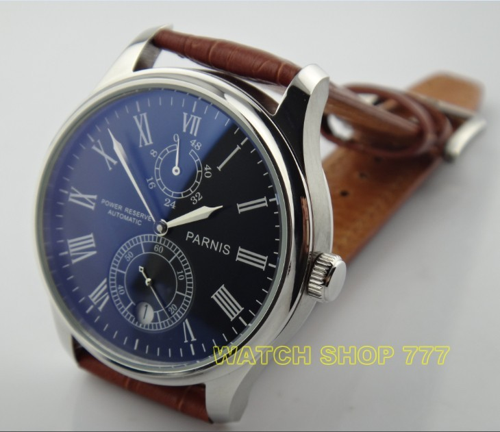 PARNIS 43mm black dial Automatic Self-Wind movement power reserve men's watch Mechanical watches wholesale GL16 parnis 47mm power reserve seagull movement black dial men automatic pilot watch pa4711sbw