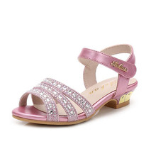 New girls sandals Summer fashion princess shoes for party sparkling rhinestone decor kids sandals high quality children sandals(China)