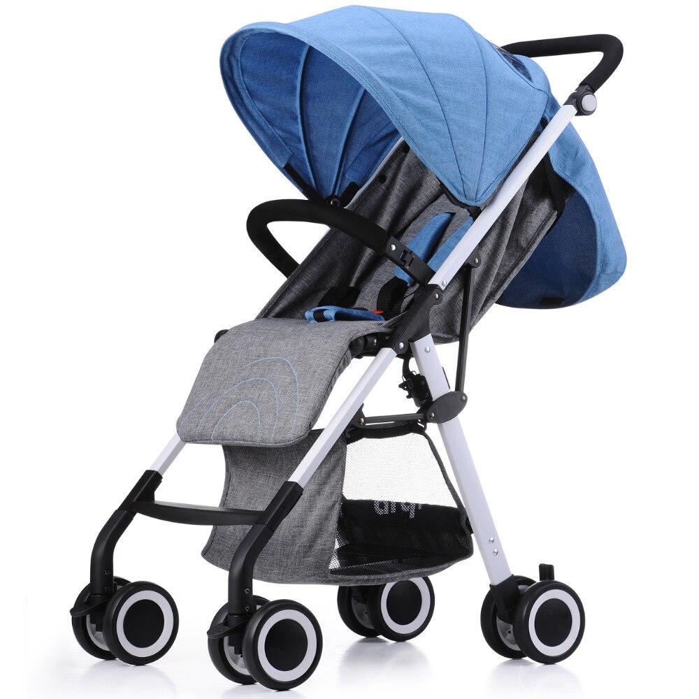 2016 новое поступление Портативный складной коляски может сидеть и лежать четыре колеса Подвески Детские коляски