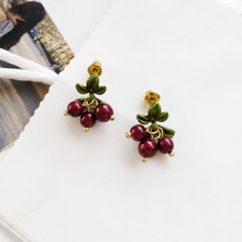 цена на 2019 summery trendy lovely green leaf red cherry beads drop women earrings