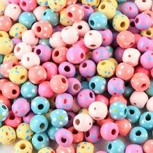 150 Uds 10mmMix punto Color cuentas de flores de madera espaciador cuentas de madera de la joyería DIY juguetes de los niños haciendo pulsera collar