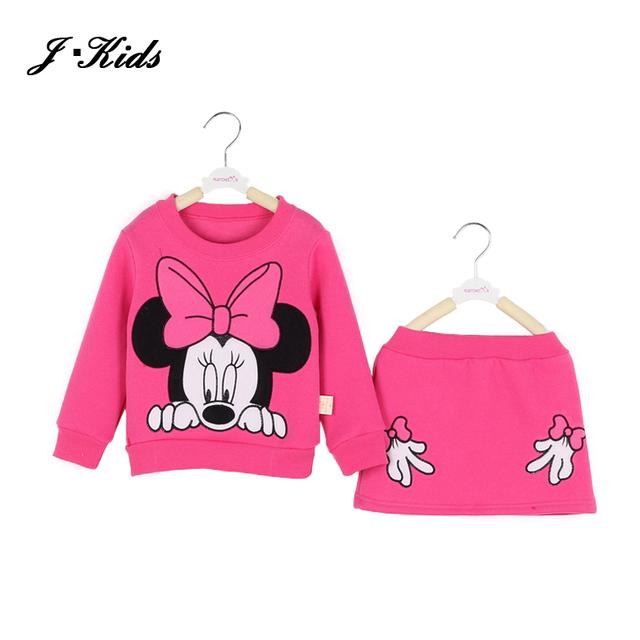 Nuevas Ventas Al Por Menor niños niñas que arropan la primavera otoño minnie mouse de manga larga de algodón camisa de lana top + falda de midi, 6 colores