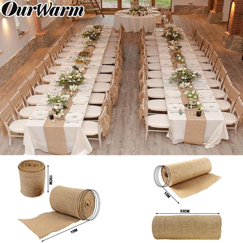OurWarm 10M Roll Upholstery Fabric Natural Jute Hessian Burlap Cloth Craft Wedding Party Table Runner Rustic Table Decoration