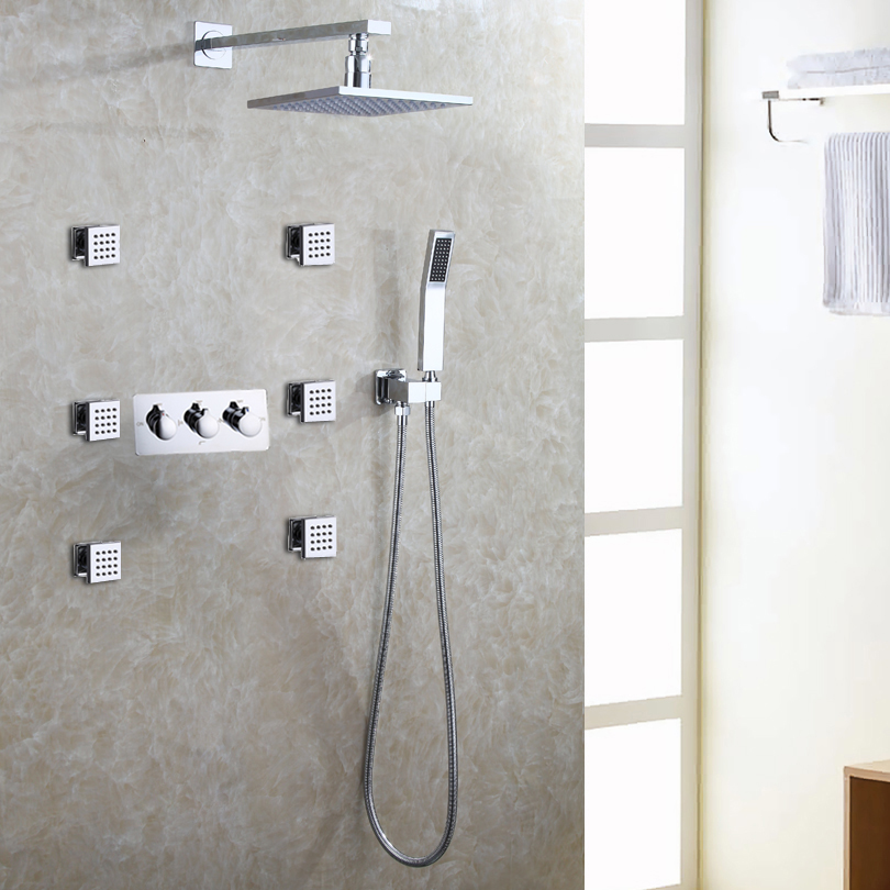 Bath Shower Faucet Set Easy Installation Shower System LED Rain Shower Head Hot And Cold Mixer Faucet Valve in Shower Faucets from Home Improvement