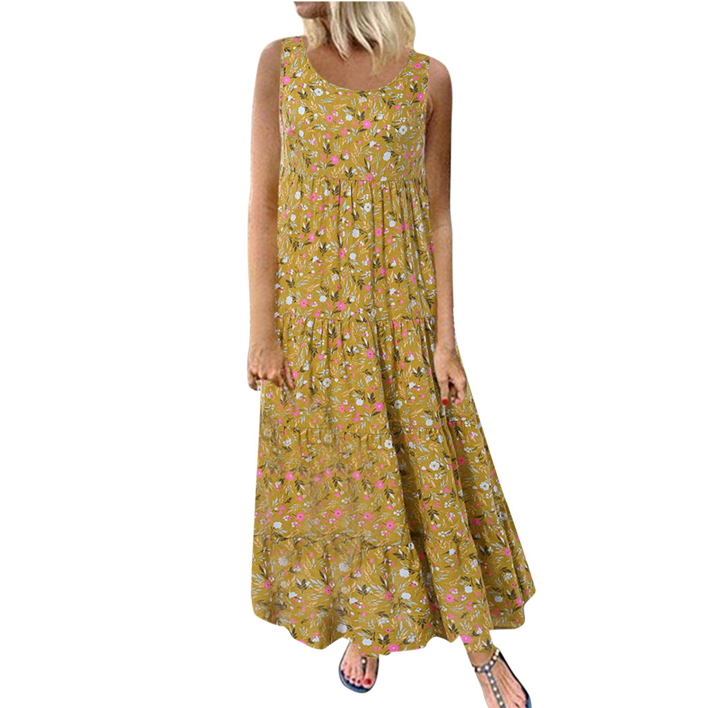 2020 Women's Dresses Plus Size Bohemian O-Neck Floral Print Dress feminine Summer Vintage Sleeveless Long Maxi Dress vestidos *1