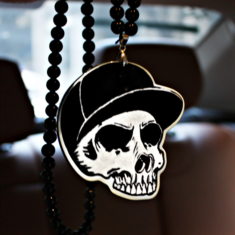 New York Yankees NY Cap Skull Badge Hip Hop Pendant Car Styling JDM Interior Rearview Mirror Ornament Beads Necklace Charm ...