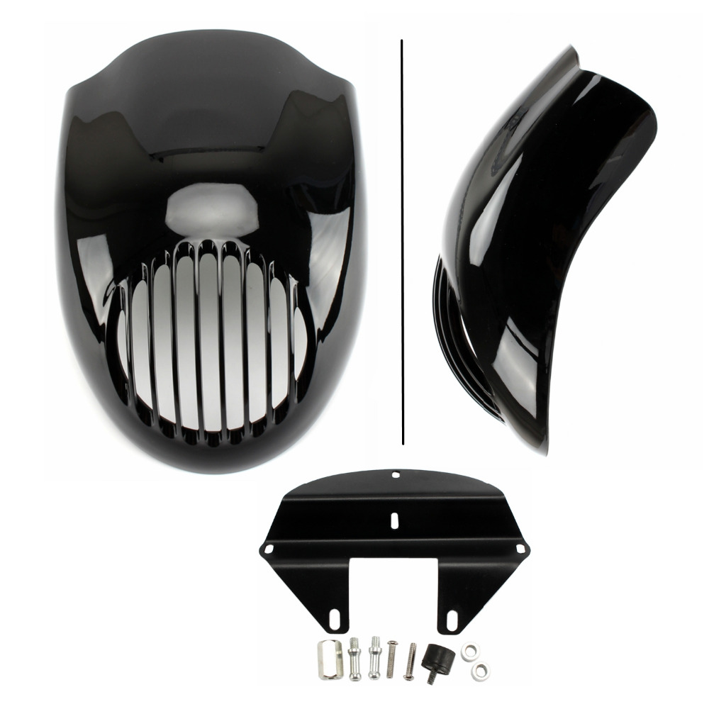 Cafe Racer Black Grill Prison Cowl Cafe Headlight Mask Front Fairing Flyscreen Fly Screen Visor For Harley Sportster UNDEFINED for dyna sportster fx xl 39mm cafe racer grille style prison cowl headlight mask front fairing flyscreen fly screen visor