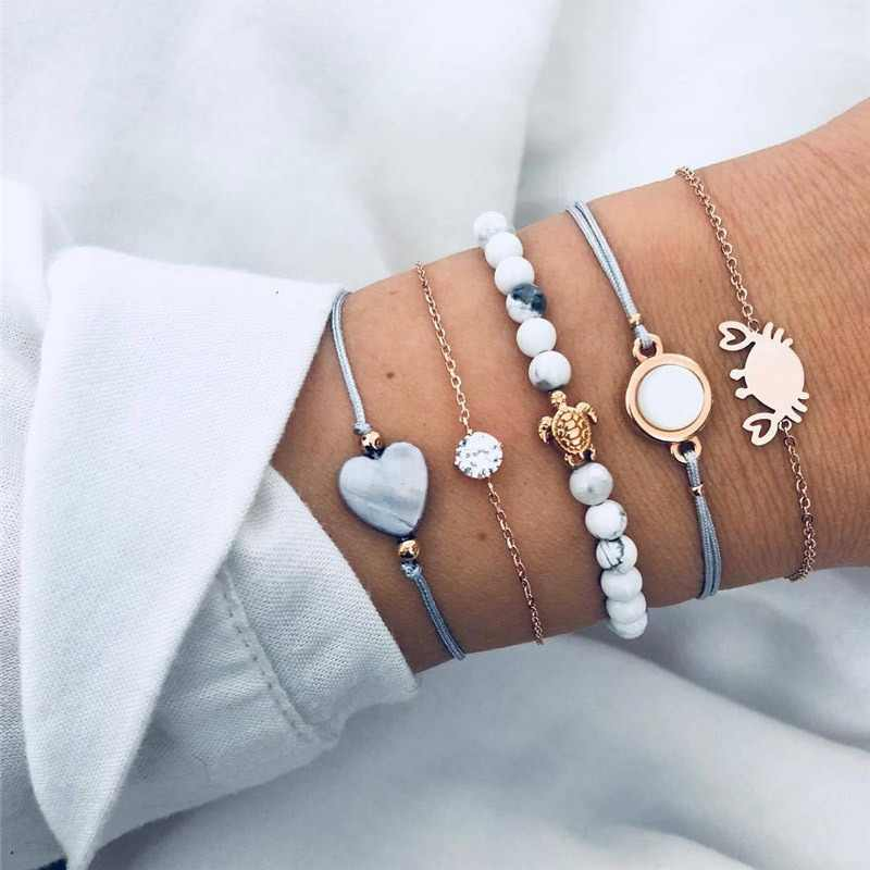 Modyle 2019 New 5pcs/set Bohemian Beads Strand Bracelets Vintage Fashion Crab Turtle Heart Bracelets Bangles Sets For Women
